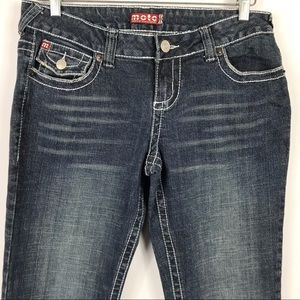 MOTO Boot Cut Embroidery Flap Pockets Blue Jeans